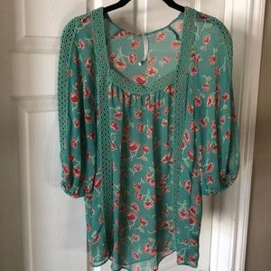 Square Neck Embroidered Sheer Floral Blouse
